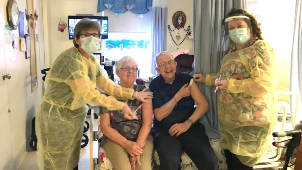 Husband and wife receive first COVID-19 vaccine in Haileybury at Extendicare Tri-Town. Jan. 27/21 (Timiskaming Health Unit)