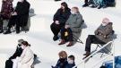 Attendees including Sen. Bernie Sanders, I-Vt., listen during the 59th Presidential Inauguration at the U.S. Capitol in Washington, Wednesday, Jan. 20, 2021. (Caroline Brehman/Pool via AP)