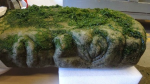 The Royal B.C. Museum says it has confirmed a carved stone pillar found at low tide on a beach in Victoria last summer is an Indigenous artifact. The museum says in a news release it will work with the Songhees and Esquimalt First Nations to determine the most suitable home for the pillar carved with the features of a face. THE CANADIAN PRESS/HO - Royal BC Museum, Grant Keddie