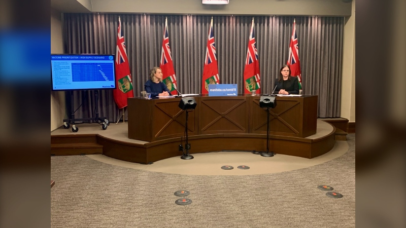 Dr. Joss Reimer (left) chair of Manitoba's Vaccine Implementation Task Force, and Health and Seniors Care Minister Heather Stefanson reveal Manitoba's vaccine priority list at the Manitoba Legislative Building on January 27, 2021. (CTV News Photo Scott Andersson)