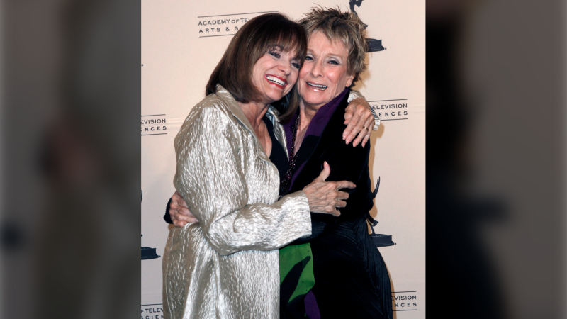 In this Thursday, Jan. 20, 2011 file photo, Inductee Cloris Leachman, right, and Valerie Harper pose together at the Academy of Television Arts and Sciences 20th Annual Hall of Fame Induction Gala in Beverly Hills, Calif. (AP Photo/Matt Sayles, File)