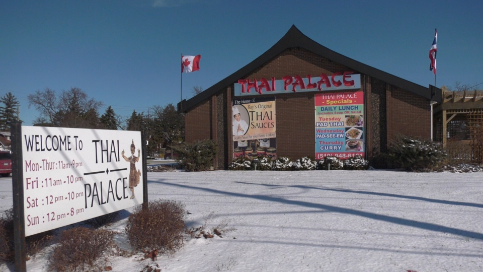 Thai Palace restaurant in Windsor, Ont. on Wednesday, Jan. 27, 2020. (Chris Campbell/CTV Windsor)
