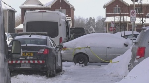 The OPP Homicide Unit investigates the death of a woman in Tottenham, Ont., on Wed., Jan. 27, 2021 (Rob Cooper/CTV News)