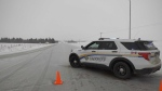 One person is dead and another was taken to hospital after a two-vehicle crash on Highway 28. Jan. 27, 2021. (Cam Wiebe/CTV News Edmonton)