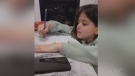 Seven-year-old Stayner girl, Josie Day, struggles with online learning on Wed., Jan. 27, 2021 (Lexy Benedict/ CTV News)