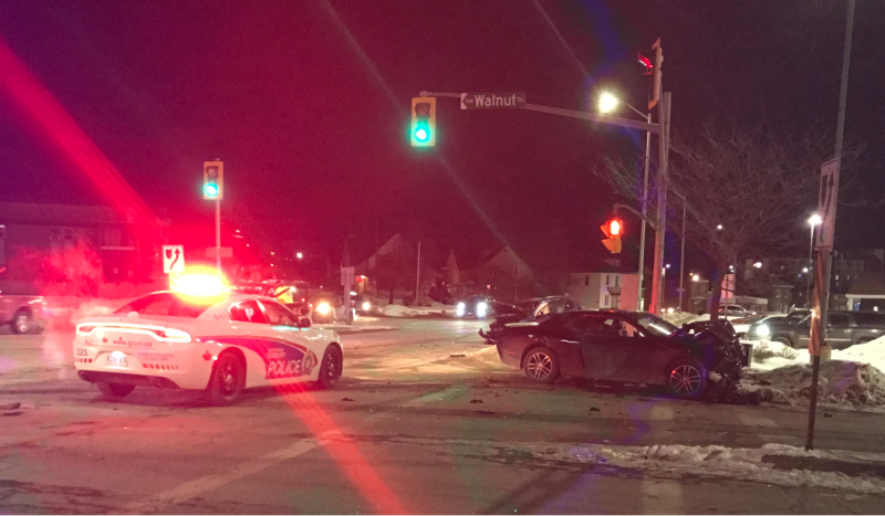 Northbound lanes on Lorne Street in Sudbury are closed, Greater Sudbury Police said Wednesday evening. (Dana Roberts/CTV News)