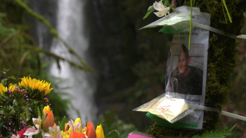 A memorial for Andre Courtemanche grows at the base of the Niagara waterfalls in Goldstream Park.