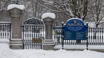 The outer wall and visitors gate is seen at Rideau Hall in Ottawa, Thursday January 21, 2021. THE CANADIAN PRESS/Adrian Wyld