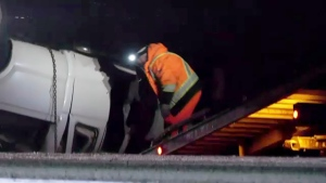 Two people were taken to hospital in stable condition following a rollover Wednesday night on the Trans Canada highway