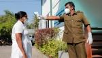 Sri Lankan health officials attend a mock COVID-19 vaccination drive in Piliyandala, Sri Lanka, Saturday, Jan. 23, 2021.(AP Photo/Eranga Jayawardena)