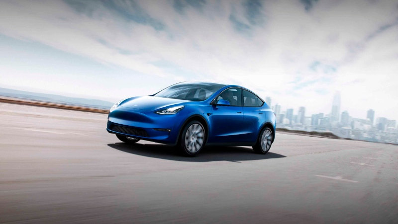 This photo provided by Tesla shows the 2020 Tesla Model Y, a compact electric SUV. (Courtesy of Tesla via AP)
