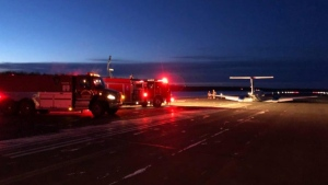 Officials with the Town of High Level said no one was hurt when the medivac flight hit the ground on Wednesday night. (Source: Facebook/Town of High Level)