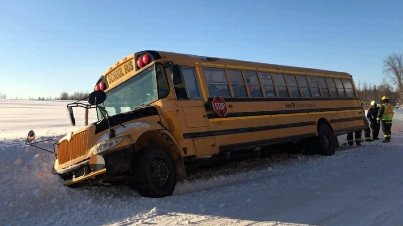 A school bus got stuck in a ditch in Grey-Bruce on Wednesday, Jan. 27, 2021. (Supplied)