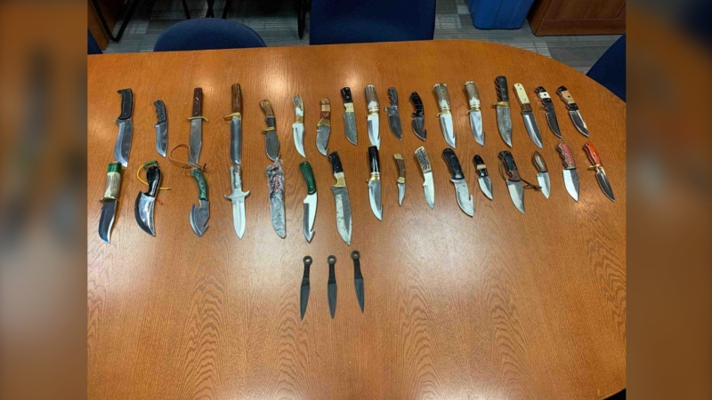 Knives seized by the RCMP following the arrest of a sixty-six-year-old Shoal Brook man on January 26, 2021. (Photo courtesy: RCMP N.L.)