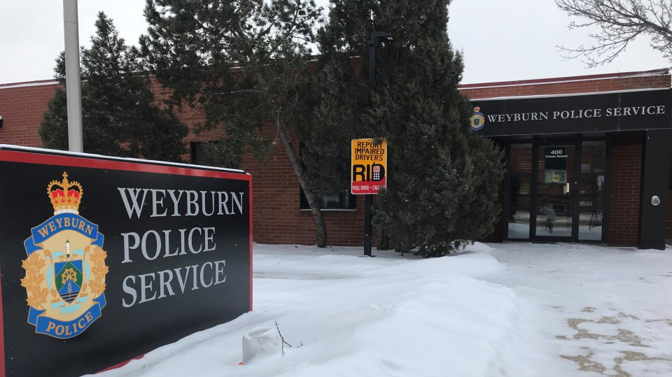 The Weyburn Police Service building is seen in this image taken Jan. 28, 2021. (Cally Stephanow/CTV News)