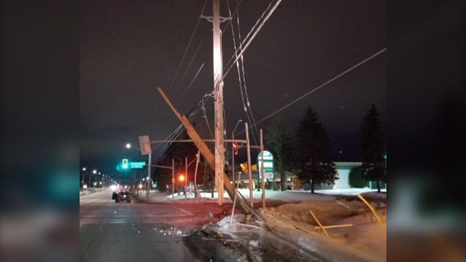 Broken hydro pole at Lorne and Webbwood in Sudbury