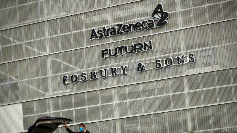 The AstraZeneca office building in Brussels, Friday, Jan. 29, 2021. (AP Photo/Francisco Seco)