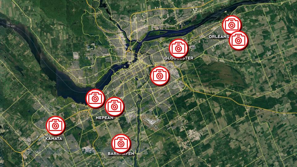 Photo radar locations in Ottawa