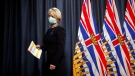Dr. Bonnie Henry leaves the podium after talking about the next steps in B.C.'s COVID-19 Immunization Plan during a press conference at Legislature in Victoria, on Friday, Jan. 22, 2021. (Chad Hipolito / THE CANADIAN PRESS)