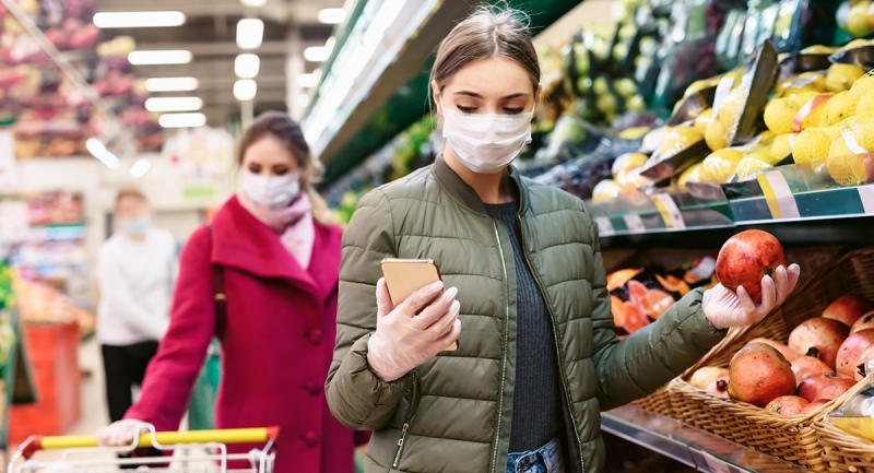Grocery shopping wearing a face mask