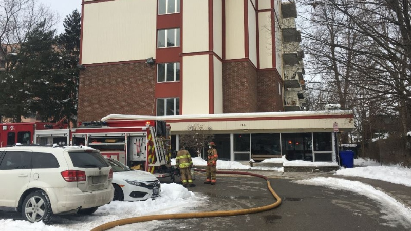 Fire at 136 Albert St. in London Ont. on Jan. 31, 2021. (Brent Lale/CTV London)