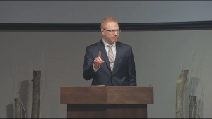 Pastor James Coates leads a livestreamed service at GraceLife Church, west of Edmonton, on Jan. 31, despite a closure order from Alberta Health Services based on previous public health order violations.