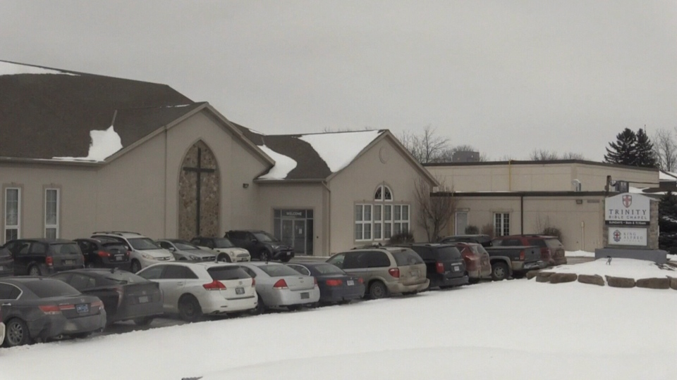Drive-in service for Trinity Bible Chapel