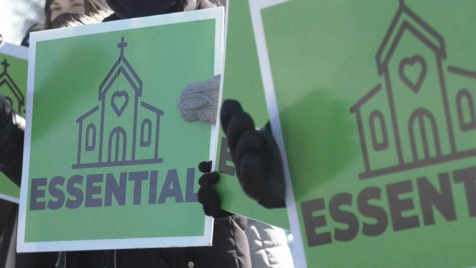 Church essential service protest