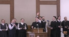 This image from a YouTube video posted Sunday, Jan. 31, 2021 shows people singing during a service at the Church of God in Aylmer, Ont. (Source: Pastor Henry Hildebrandt / YouTube)