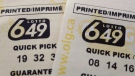 A pair of Lotto 649 tickets are pictured in Toronto on October 17, 2015. THE CANADIAN PRESS/Richard Plume