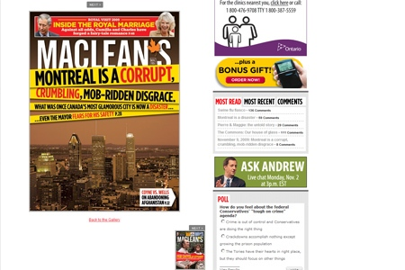 The Novemeber 9, 2009 edition of Maclean's magazine features a scathing report on municipal politics in Montreal. (Courtesy: macleans.ca)
