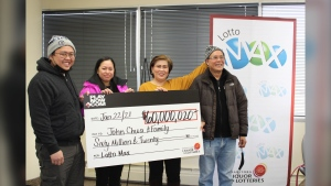 The winners of the $60 million in Winnipeg have been announced. John Chua and his family are the ones who purchased the winning ticket. (From left to right, John Chua, John's wife Jhoanna Chua, John's mom Angie Chua, and John's uncle Ben Lagman. Source: Western Canada Lottery Corporation)