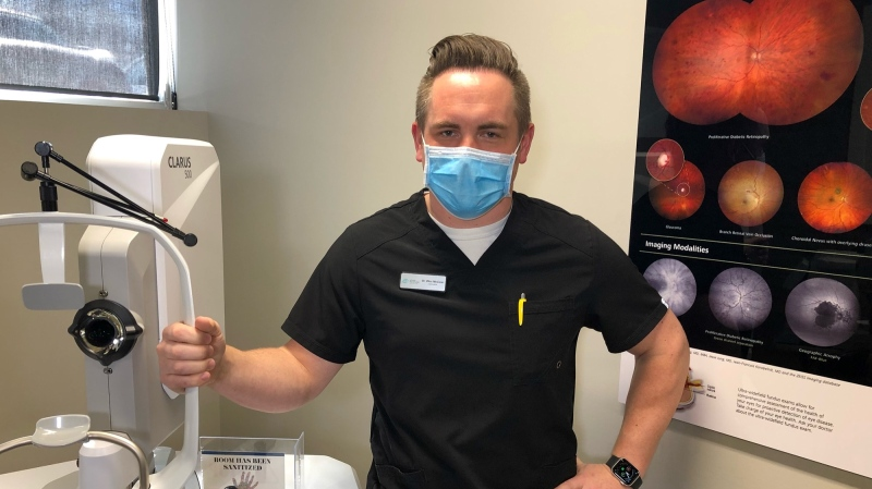 Dr. Wes McCann, optometrist at Upper Richmond Optometry in London, Ont. says he is ready to help with the government's vaccination plan. (Jordyn Read/CTV London)