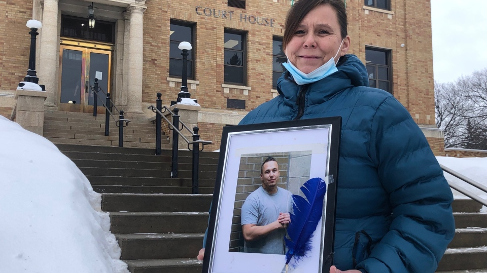 Carla Peterson holds a picture of her son Duane Brett Ledoux. (Lisa Risom/CTV Prince Albert)