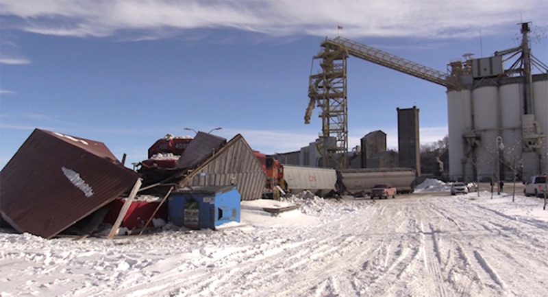 Damage is seen in Goderich, Ont. on Tuesday, Feb. 2, 2021, the day after a train derailment. (Scott Miller / CTV News)