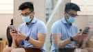 A customer wearing a protective mask tries out an iPhone 12 Pro Max at the Apple flagship store. (Brendon Thome/Bloomberg/Getty Images/CNN)