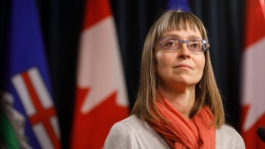 Alberta chief medical officer of health Dr. Deena Hinshaw updates media on the COVID-19 situation in Edmonton on Friday, March 20, 2020. THE CANADIAN PRESS/Jason Franson