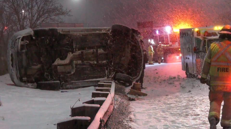 Memorial Drive, crash, guardrail, snow