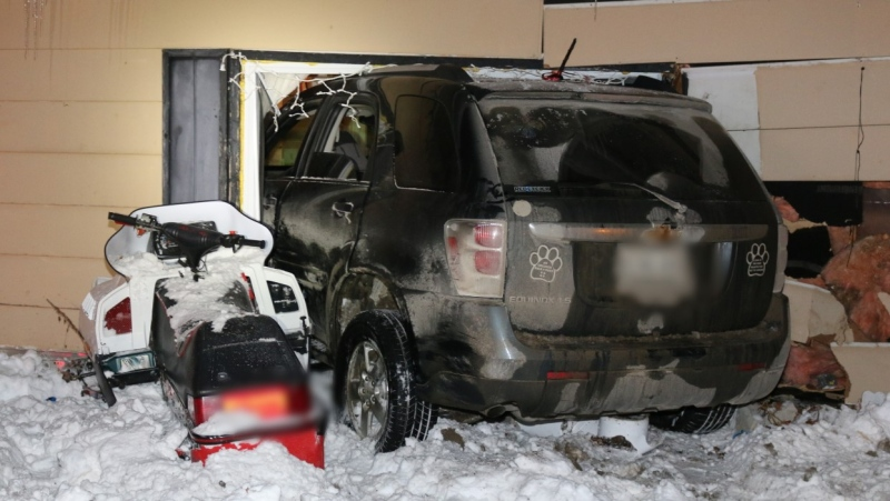 South Bruce OPP released this photo of a vehicle that struck a house in Teeswater, Ont on Monday, Feb. 1, 2021.