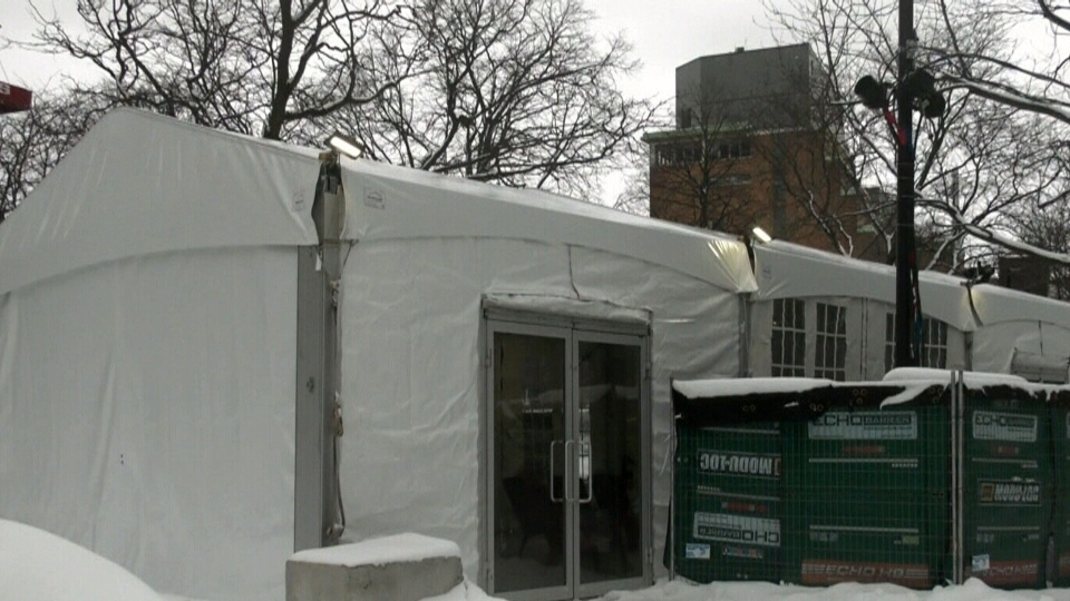 Warming tent set up in Cabot Square