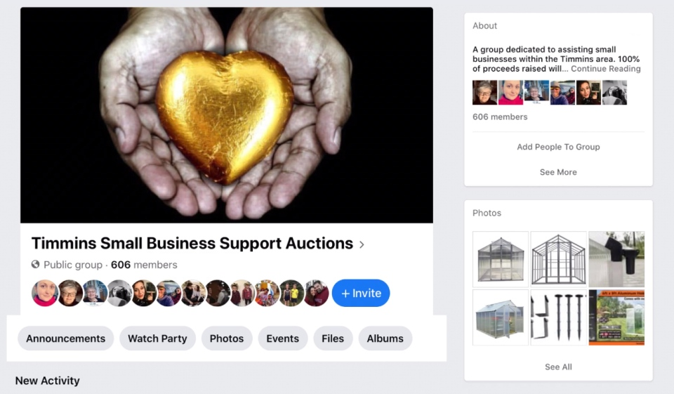 William Orr, a small business owner in Timmins, has started a weekly auction through a Facebook page, with the proceeds going to a different business each week. (Photo from Facebook)
