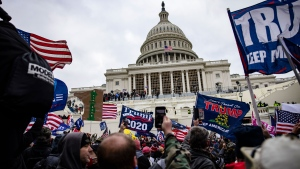 Two Proud Boys indicted for conspiring to block Congress' certification of electoral votes on January 6. In this image, pro-Trump supporters storm the U.S. Capitol following a rally with President Donald Trump on January 6, 2021 in Washington, D.C. (Samuel Corum/Getty Images via CNN)