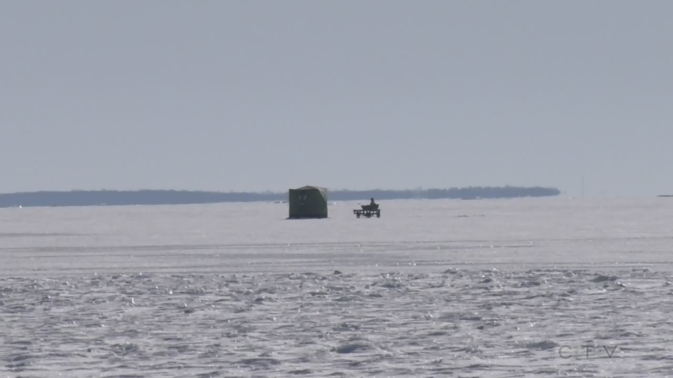 An ice hut is seen on Lake Simcoe on Thurs., Feb. 4, 2021 (Rob Cooper/CTV News)
