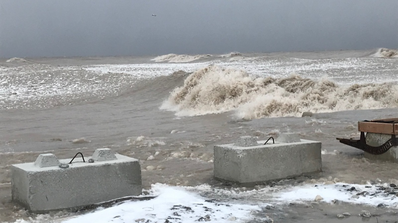 Waves roll onto the shores of Lake Erie in Port Bruce, Ont. on Friday, Feb. 5, 2021. (Sean Irvine / CTV News)