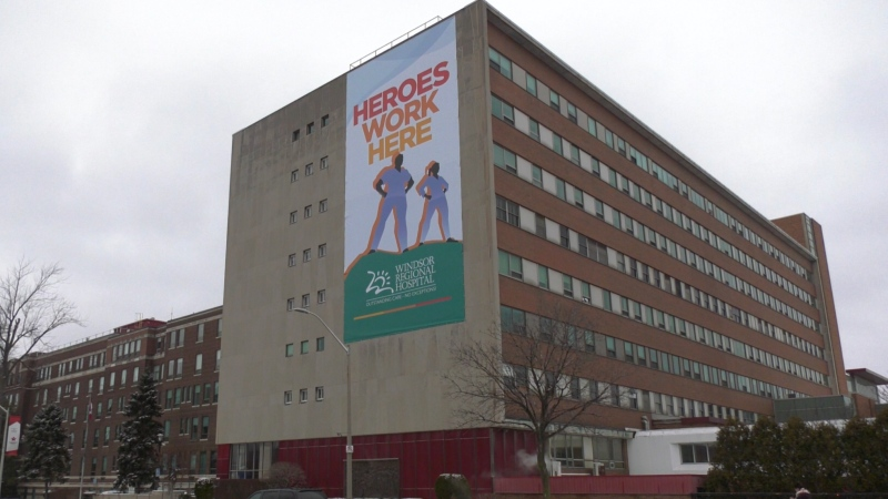 Windsor Regional Hospital Ouellette Campus in Windsor, Ont., on Thursday, Feb. 5, 2021. (Chris Campbell / CTV Windsor)