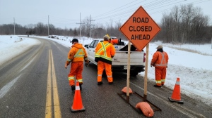 Police closed Quarry Road for a serious collision on Fri., Feb. 5, 2021 (OPP/Twitter)