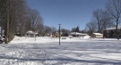 Open space beside a park at Helen and Queen streets in Mount Brydges, Ont. being considered for an attainable housing building is seen Wednesday, Feb. 3, 2021. (Gerry Dewan / CTV News)