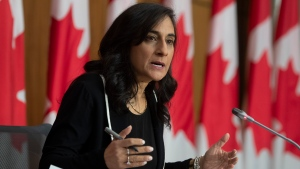 Public Services and Procurement Minister Anita Anand speaks during a news conference Monday December 14, 2020 in Ottawa. THE CANADIAN PRESS/Adrian Wyld