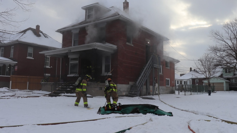 Fire crews on scene of a house fire in the 500 block of Campbell Avenue in Windsor, Ont. on Friday, Feb. 5, 2021. (OnLocation/Twitter)