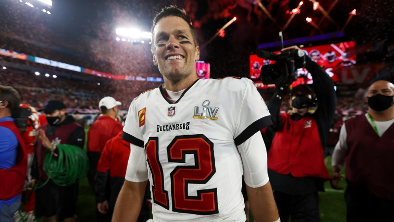 Tampa Bay Buccaneers quarterback Tom Brady (12) celebrates following the NFL Super Bowl 55 football game against the Kansas City Chiefs, Sunday, Feb. 7, 2021 in Tampa, Fla. Tampa Bay won 31-9. (Ben Liebenberg via AP)